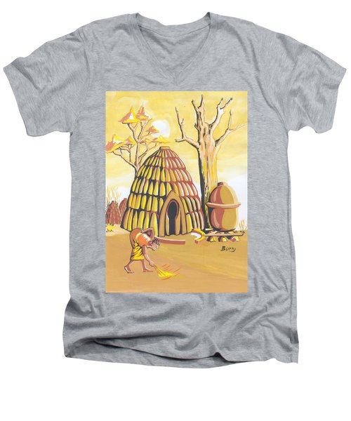 Men's V-Neck T-Shirt featuring the painting Traditional House Massa Northern Cameroon by Emmanuel Baliyanga