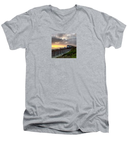 Train And Sunset In San Clemente Men's V-Neck T-Shirt