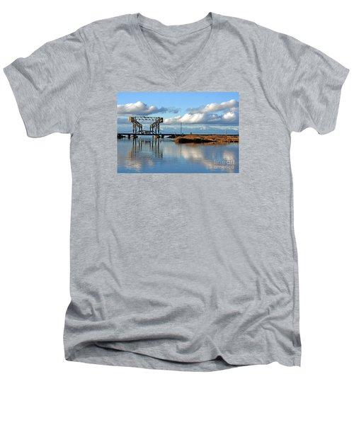 Train Bridge Men's V-Neck T-Shirt by Chris Anderson