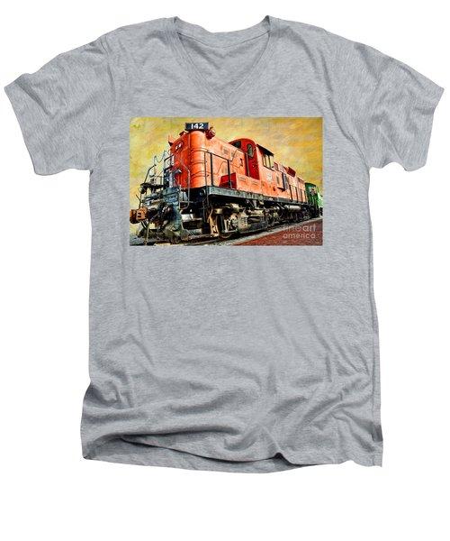 Train - Mkt 142 - Rs3m Emd Repowered Alco Men's V-Neck T-Shirt by Liane Wright