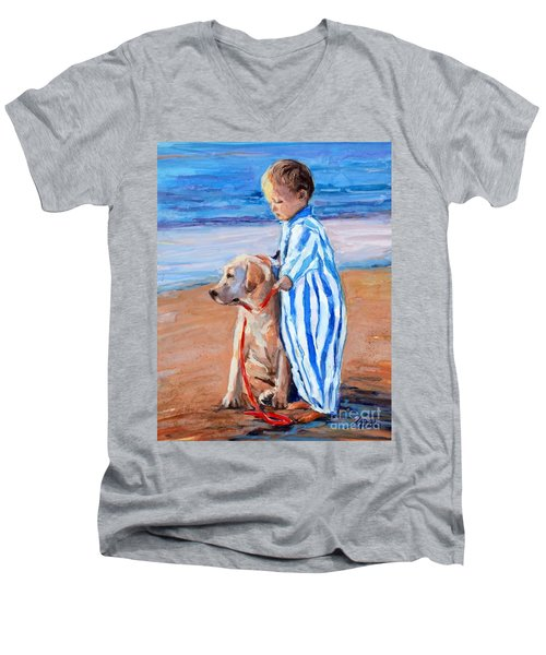 Men's V-Neck T-Shirt featuring the painting Training Day by Molly Poole