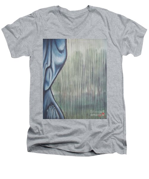 Men's V-Neck T-Shirt featuring the painting Tranquil Rain by Michael  TMAD Finney