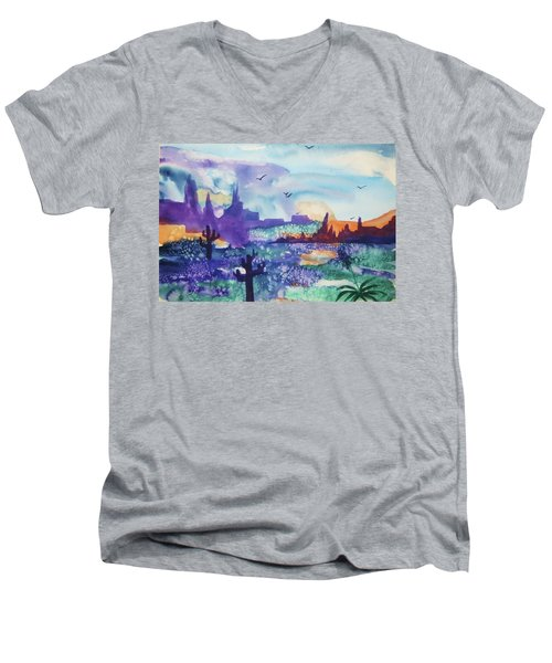 Men's V-Neck T-Shirt featuring the painting Tranquility II by Ellen Levinson