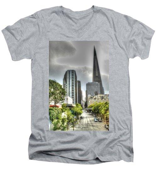 Transmerica Pyramid From The Embarcadero Men's V-Neck T-Shirt