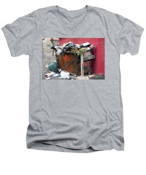Men's V-Neck T-Shirt featuring the photograph Trash Dumpster In Slums by Gunter Nezhoda