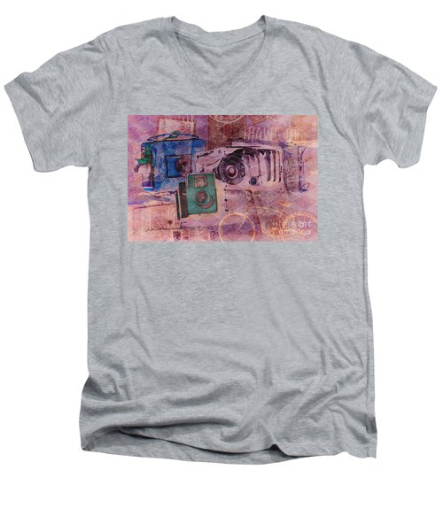 Travel Log Men's V-Neck T-Shirt by Erika Weber
