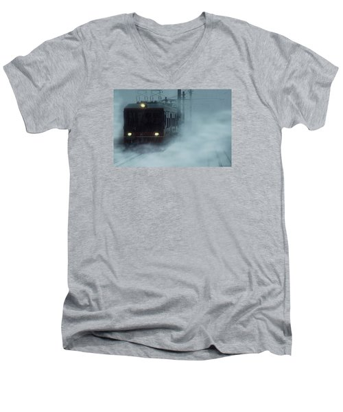 Traveling In The Snow... Men's V-Neck T-Shirt by Vittorio Chiampan