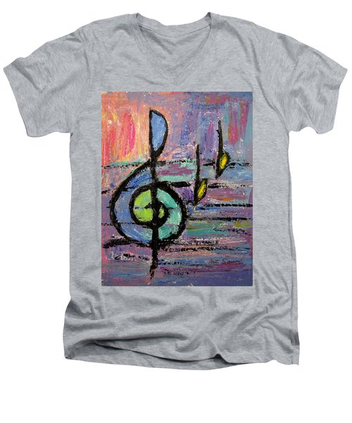 Treble Clef Men's V-Neck T-Shirt