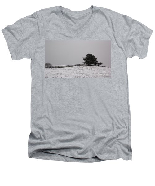 Tree And Fence In Snow Storm Men's V-Neck T-Shirt