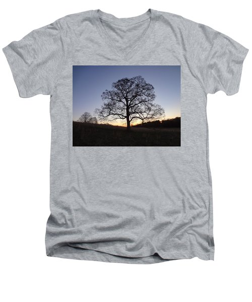 Men's V-Neck T-Shirt featuring the photograph Tree At Dawn by Michael Porchik