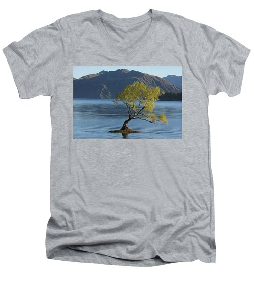 Men's V-Neck T-Shirt featuring the photograph Tree In Lake Wanaka by Stuart Litoff