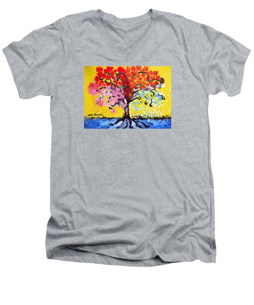Men's V-Neck T-Shirt featuring the painting Tree Of Life by Ramona Matei