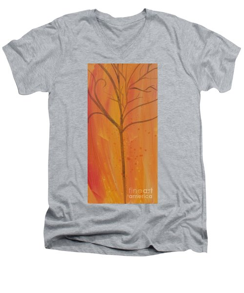 Men's V-Neck T-Shirt featuring the painting Tree Of Three Coral by Robin Maria Pedrero