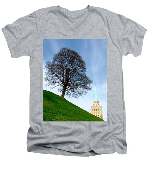 Tree On A Hill Men's V-Neck T-Shirt