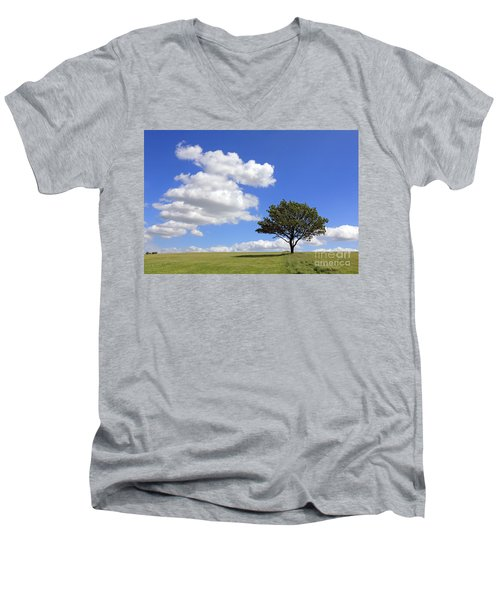 Tree With Clouds Men's V-Neck T-Shirt