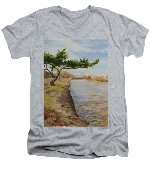 Tree With Lake Men's V-Neck T-Shirt