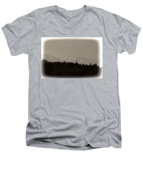 Treeline With Ice Capped Mountains In The Scottish Highlands Men's V-Neck T-Shirt