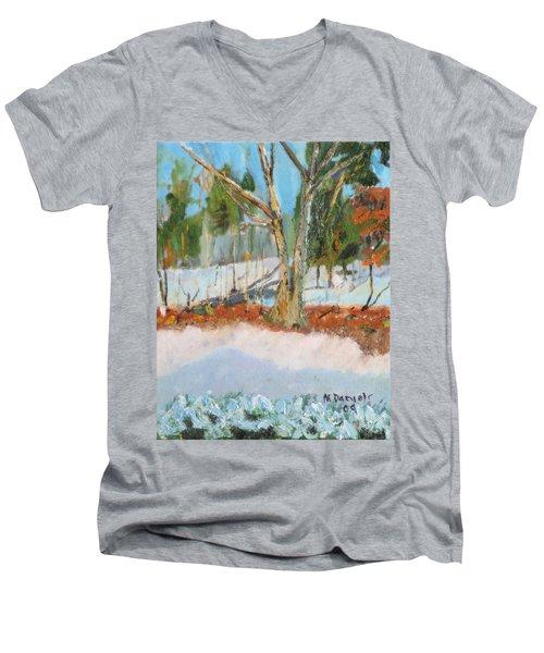 Trees And Snow Plein Air Men's V-Neck T-Shirt