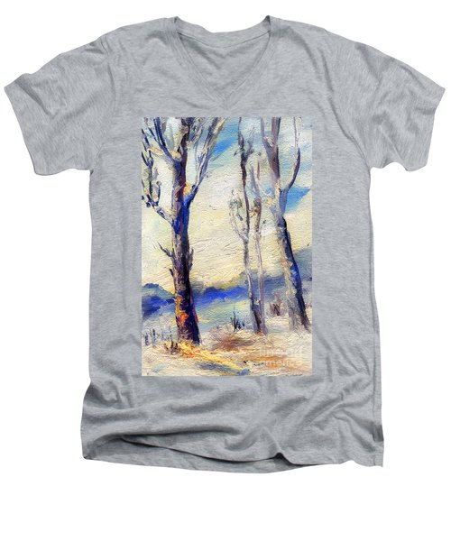 Trees In Winter Men's V-Neck T-Shirt