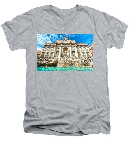 Trevi Fountain - Rome Men's V-Neck T-Shirt by Luciano Mortula