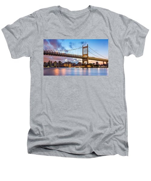 Men's V-Neck T-Shirt featuring the photograph Triboro Bridge At Dusk by Mihai Andritoiu