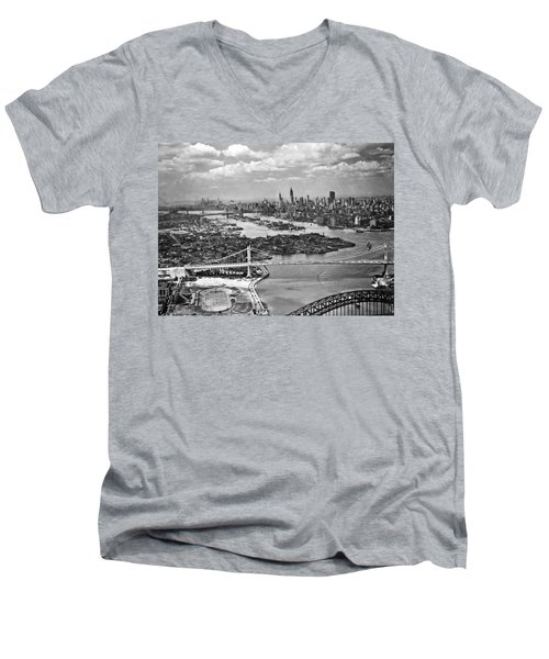 Triborough Bridge Is Completed Men's V-Neck T-Shirt by Underwood Archives