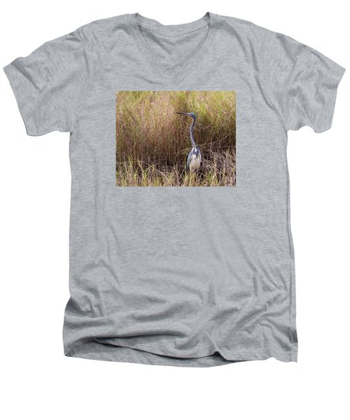 Men's V-Neck T-Shirt featuring the photograph Tricolored Heron Peeping Over The Rushes by John M Bailey