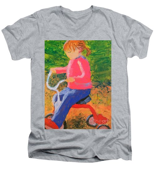 Men's V-Neck T-Shirt featuring the painting Tricycle by Donald J Ryker III