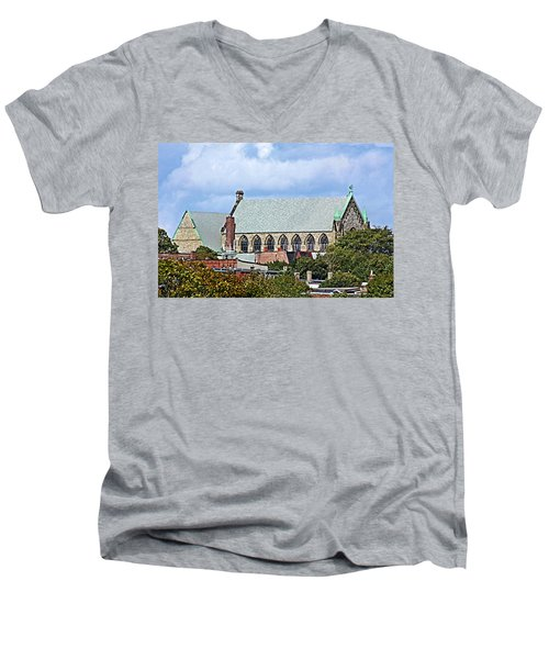 Men's V-Neck T-Shirt featuring the photograph Trinity Church by Kristin Elmquist