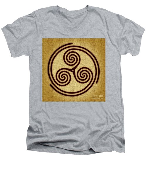 Triskelion  Men's V-Neck T-Shirt by Olga Hamilton