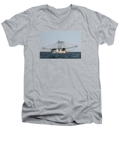 Men's V-Neck T-Shirt featuring the photograph Troller To Port by John Telfer