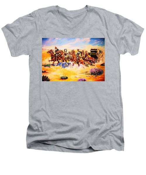 Troopers Stopping A Runaway Coach Men's V-Neck T-Shirt