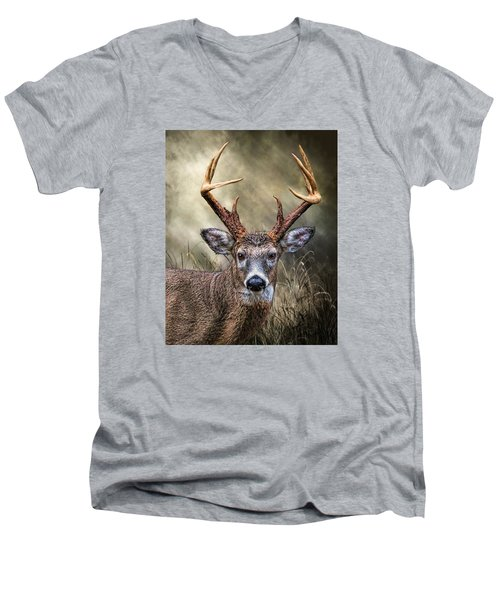 Men's V-Neck T-Shirt featuring the digital art Trophy 10 Point Buck by Mary Almond