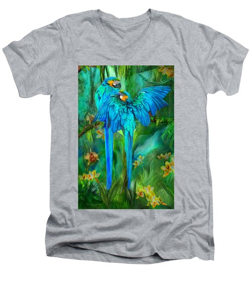 Men's V-Neck T-Shirt featuring the mixed media Tropic Spirits - Gold And Blue Macaws by Carol Cavalaris