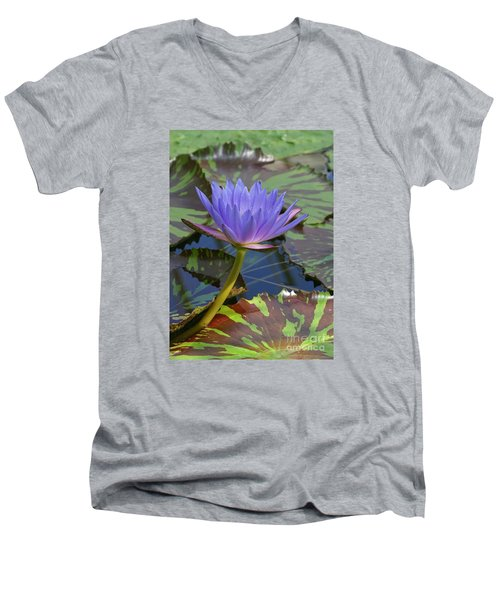 Men's V-Neck T-Shirt featuring the photograph Tropic Water Lily 15 by Rudi Prott
