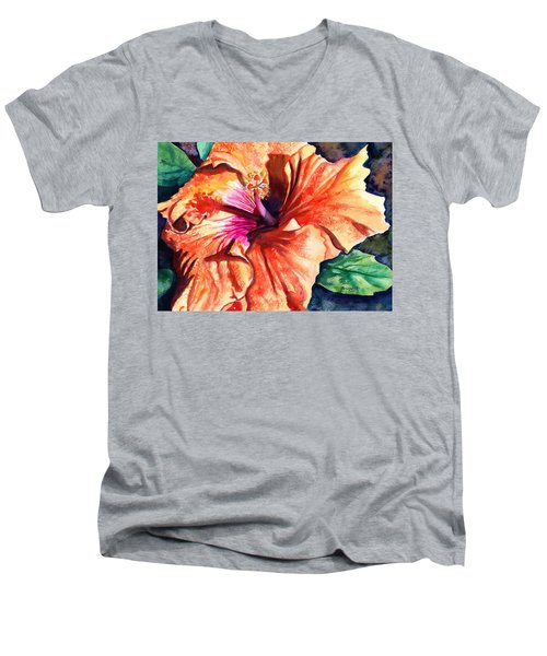 Tropical Hibiscus Men's V-Neck T-Shirt by Marionette Taboniar