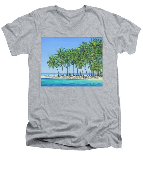 Men's V-Neck T-Shirt featuring the painting Tropical Lagoon by Jane Girardot