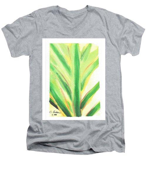 Tropical Leaf Men's V-Neck T-Shirt by C Sitton