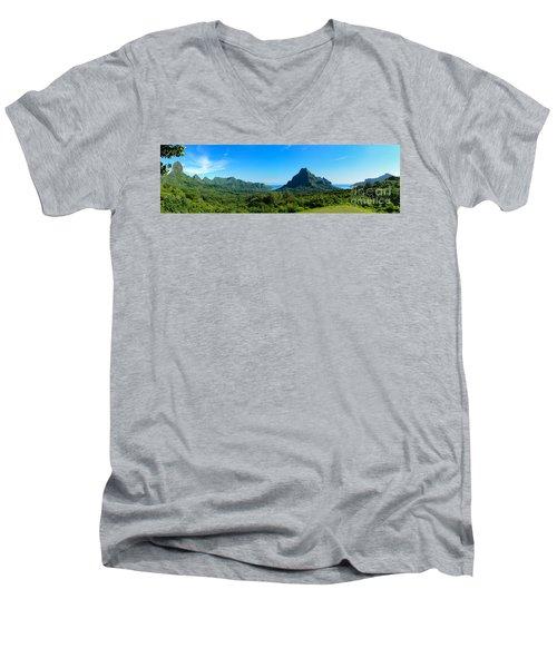 Tropical Moorea Panorama Men's V-Neck T-Shirt by IPics Photography