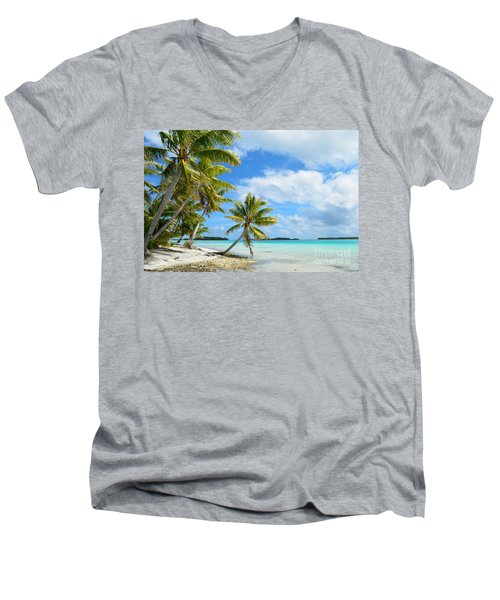 Tropical Beach With Hanging Palm Trees In The Pacific Men's V-Neck T-Shirt by IPics Photography