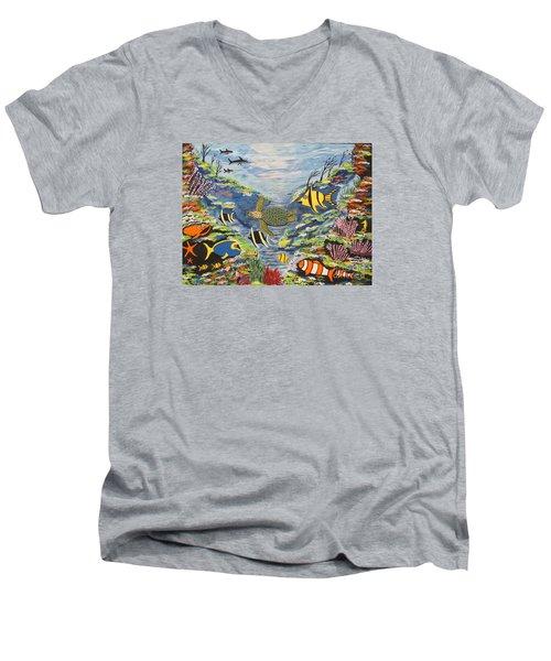 Tropical Paradise Men's V-Neck T-Shirt by Jeffrey Koss