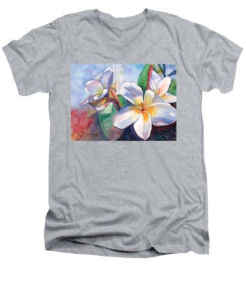 Tropical Plumeria Flowers Men's V-Neck T-Shirt