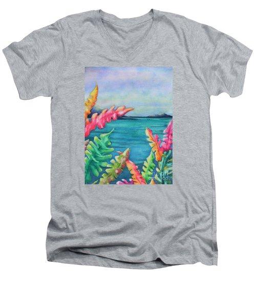 Tropical Scene Men's V-Neck T-Shirt by Chrisann Ellis