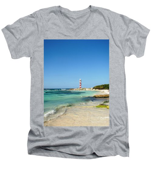 Tropical Seascape With Lighthouse Men's V-Neck T-Shirt