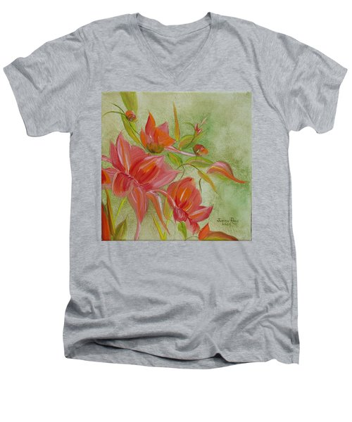 Tropical Splash Men's V-Neck T-Shirt by Judith Rhue