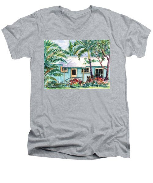 Men's V-Neck T-Shirt featuring the painting Tropical Vacation Cottage by Marionette Taboniar