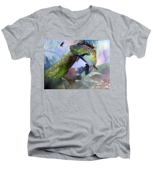 Trout And Fly Men's V-Neck T-Shirt