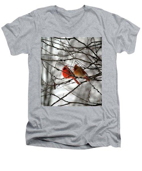 Men's V-Neck T-Shirt featuring the photograph True Love Cardinal by Peggy Franz