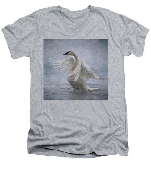 Men's V-Neck T-Shirt featuring the photograph Trumpeter Swan - Misty Display by Patti Deters