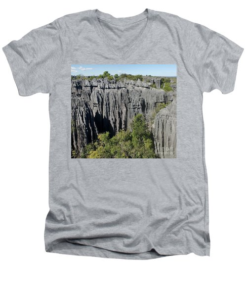 Men's V-Neck T-Shirt featuring the photograph Tsingy De Bemaraha Madagascar 1 by Rudi Prott